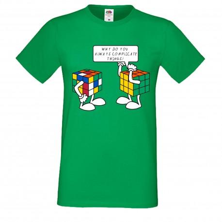 """Мъжка тениска с щампа """"Complicated Things"""" - Зелена"""