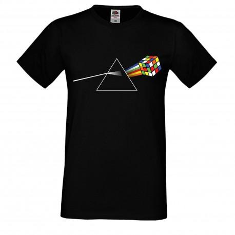 """Мъжка тениска с щампа """"Pink Floyd Cube"""" - Черна"""