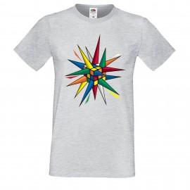 """Мъжка тениска с щампа """"Rubik Star"""" - Сива"""