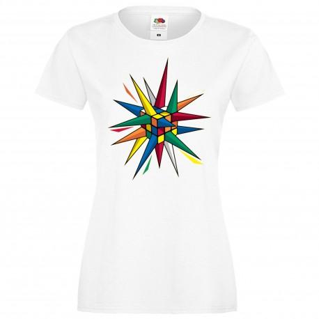 """Дамска тениска с щампа """"Rubik Star"""" - Бяла"""