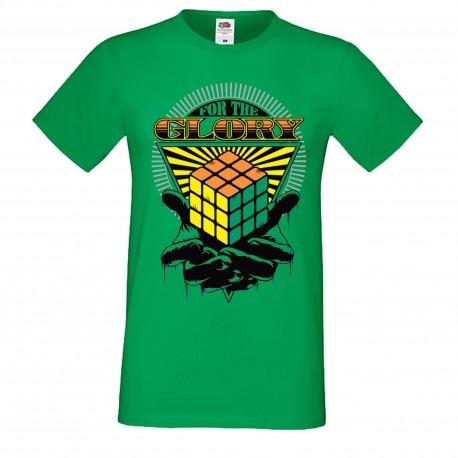 """Мъжка тениска с щампа """"For The Glory"""" - Зелена"""