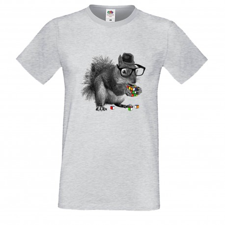 """Мъжка тениска с щампа """"Smart Squirrel"""" - Сива"""