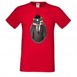 """Мъжка тениска с щампа """"Mister Rubik"""" - Червена"""