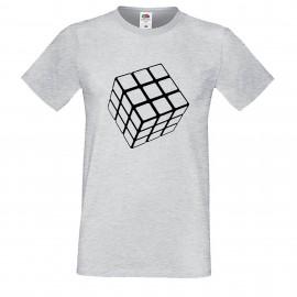 """Мъжка тениска с щампа """"One Color Cube"""" - Сива"""