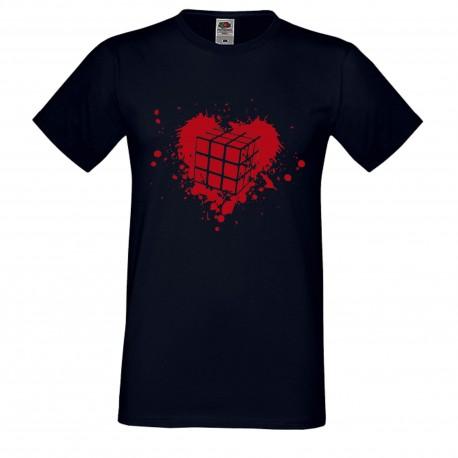 """Мъжка тениска с щампа """"Heart"""" - Тъмно синя"""