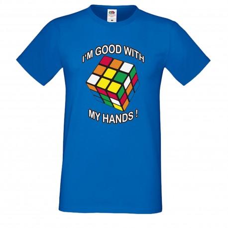 """Мъжка тениска с щампа """"I'm Good"""" - Синя"""