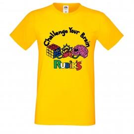 """Мъжка тениска с щампа """"Challenge"""" - Жълта"""