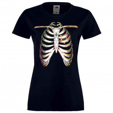 """Дамска тениска с щампа """"Rubik Skeleton"""" - Тъмно синя"""