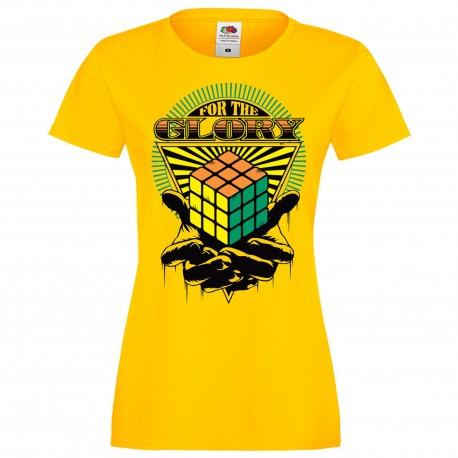 """Дамска тениска с щампа """"For The Glory"""" - Жълта"""