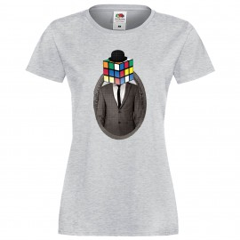 """Дамска тениска с щампа """"Mister Rubik"""" - Сива"""