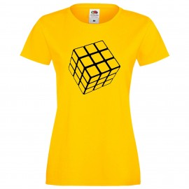 """Дамска тениска с щампа """"One Color Cube"""" - Жълта"""