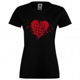 """Дамска тениска с щампа """"Heart"""" - Черна"""