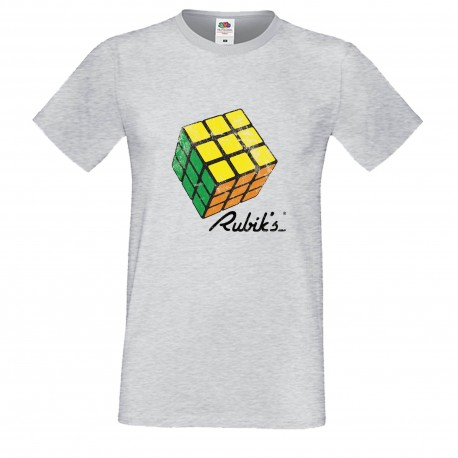 """Мъжка тениска с щампа """"Rubiks Vintage 1"""" - Сива"""