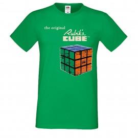 """Мъжка тениска с щампа """"Rubiks Vintage 2"""" - Зелена"""