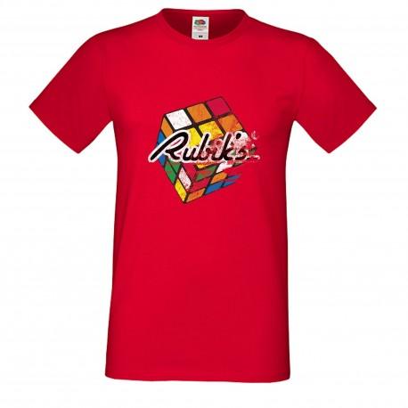 """Мъжка тениска с щампа """"Rubiks Distressed"""" - Червена"""