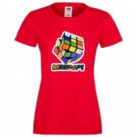 """Дамска тениска с щампа """"Mixed Up!"""" - Червена"""