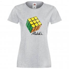 """Дамска тениска с щампа """"Rubiks Vintage 1"""" - Сива"""