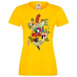 """Дамска тениска с щампа """"Tattoo 1"""" - Жълта"""