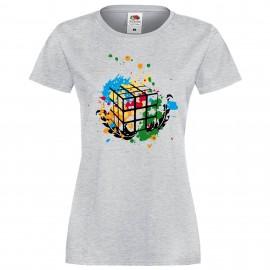 """Дамска тениска с щампа """"Splatter"""" - Сива"""