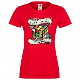 """Дамска тениска с щампа """"Tattoo 2 Distressed"""" - Червена"""