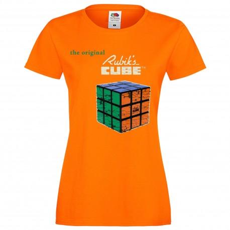 "Дамска тениска с щампа ""Rubiks Vintage 2"" - Оранжева"