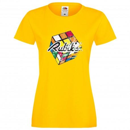 """Дамска тениска с щампа """"Rubiks Distressed"""" - Жълта"""