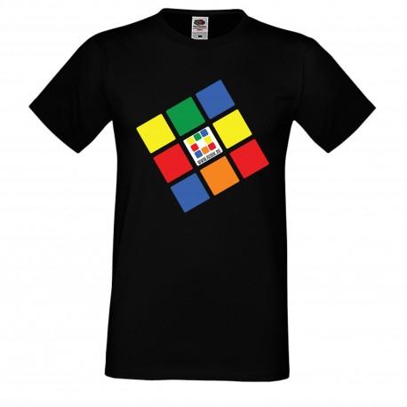 """Мъжка тениска с щампа """"Rubik.bg"""" - черна"""