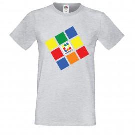 """Мъжка тениска с щампа """"Rubik.bg"""" - сива"""
