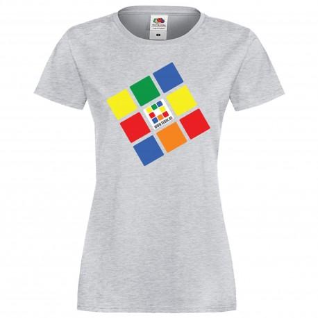 """Дамска тениска с щампа """"Rubik.bg"""" - сива"""