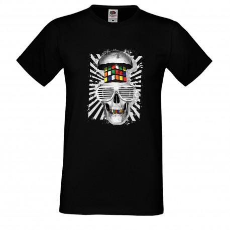 """Мъжка тениска с щампа """"Rubik Skull"""" - Черна"""