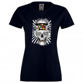 """Дамска тениска с щампа """"Rubik Skull"""" - Тъмно синя"""