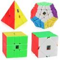 Комплект магически пъзели Cubing Classroom MeiLong (Pyraminx, Skewb, Megaminx, SQ1) - Stickerless
