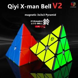Магически пъзел за скоростно нареждане QiYi X-Man Bell V2 Pyraminx Magnetic - Черен