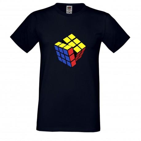 """Мъжка тениска с щампа """"Three Color Twist 1"""" - Тъмно синя"""