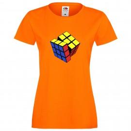 """Дамска тениска с щампа """"Three Color Twist 1"""" - Оранжева"""