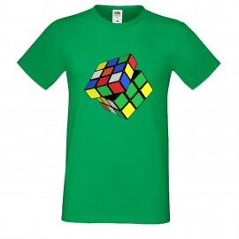 """Мъжка тениска с щампа """"Twisted Cube"""" - Зелена"""