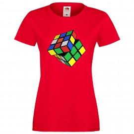 """Дамска тениска с щампа """"Twisted Cube"""""""