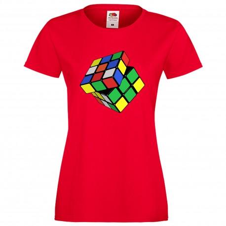 """Дамска тениска с щампа """"Twisted Cube"""" - Червена"""