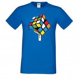 """Мъжка тениска с щампа """"Rubik Ice Cream"""" - Синя"""