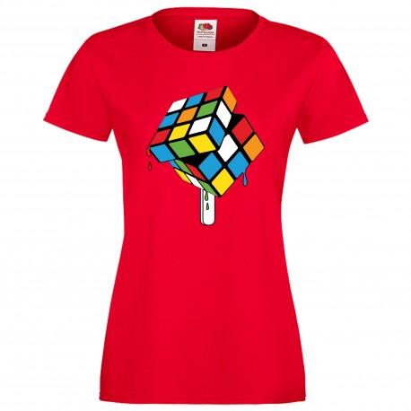 """Дамска тениска с щампа """"Rubik Ice Cream"""" - Червена"""