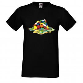 """Мъжка тениска с щампа """"Melting Cube 1"""" - Черна"""