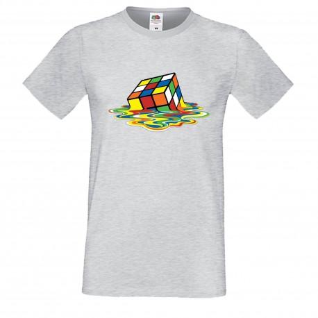 """Мъжка тениска с щампа """"Melting Cube 1"""" - Сива"""