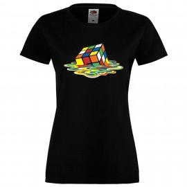 """Дамска тениска с щампа """"Melting Cube 1"""" - Черна"""