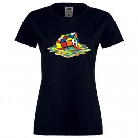 """Дамска тениска с щампа """"Melting Cube 1"""" - Тъмно синя"""