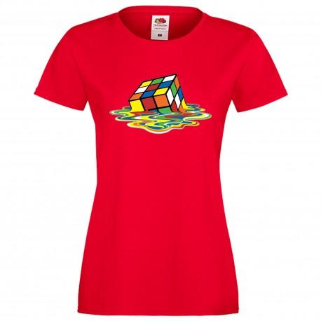 """Дамска тениска с щампа """"Melting Cube 1"""" - Червена"""