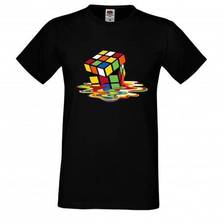 """Мъжка тениска с щампа """"Melting Cube 2"""" - Черна"""