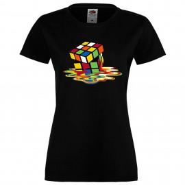 """Дамска тениска с щампа """"Melting Cube 2"""" - Черна"""