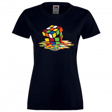 """Дамска тениска с щампа """"Melting Cube 2"""" - Тъмно синя"""