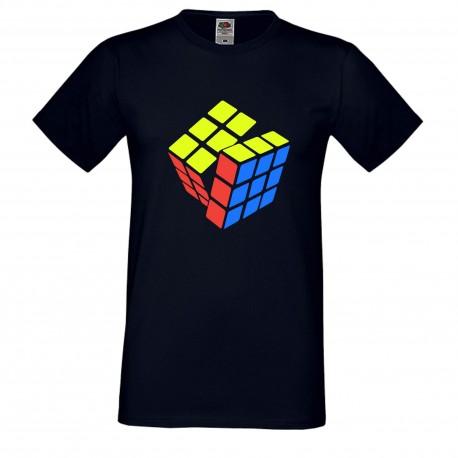 """Мъжка тениска с щампа """"Three Color Twist 2"""" - Тъмно синя"""