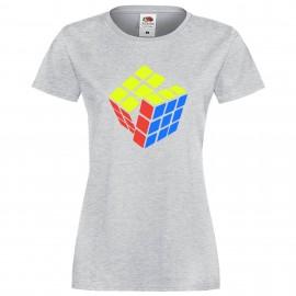 """Дамска тениска с щампа """"Three Color Twist 2"""" - Сива"""